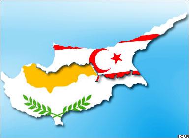 Ilustrasi wilayah Siprus yang terbagi menjadi dua wilayah